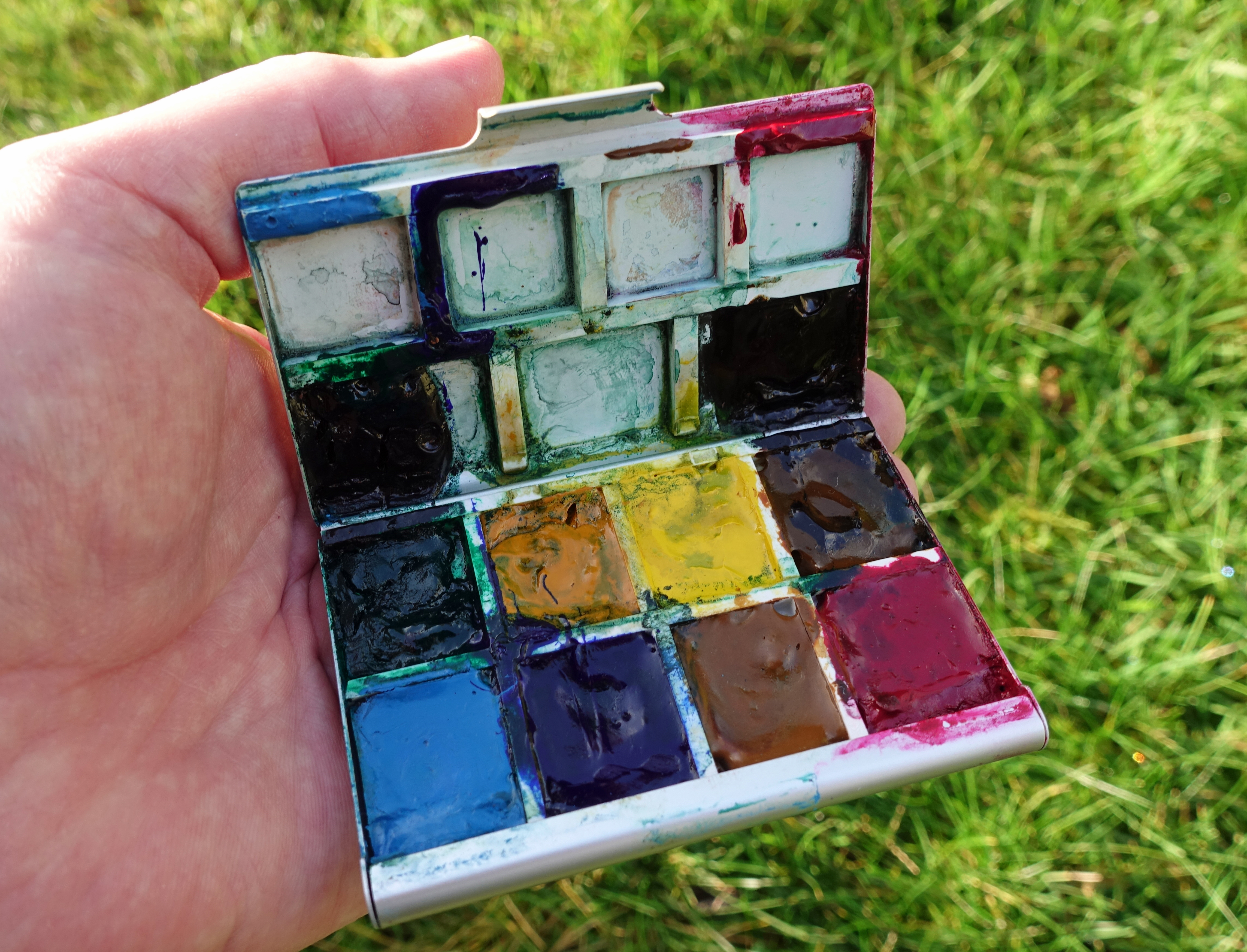 Home made paint palette with a personal choice of quality watercolours
