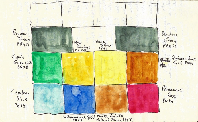 My nine colour palette- drawing from rear page of a trail journal