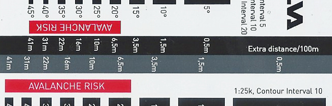 Extra distance covered relating to change in height, detail from Silva Slope Card