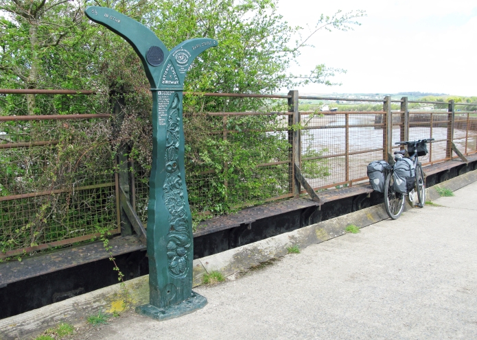 Probably the first Millennium Milepost seen by Three Points of the Compass. Passed while cycling the Tarka Trail in 2009