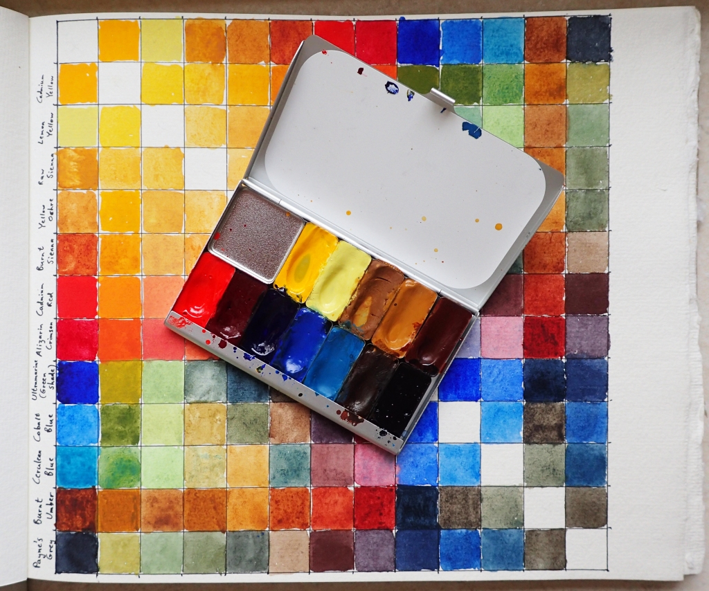 Pocket palette with removable pans filled with paint