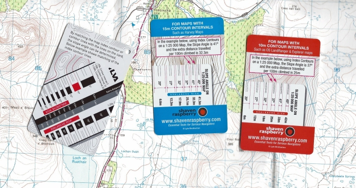 Unlike with transparent slope cards, solif cards usually include an aide memoir on how to use them on their reverse. Shown here are the two scale cards from Shaven Raspberry with the one provided by Silva with many of their compasses