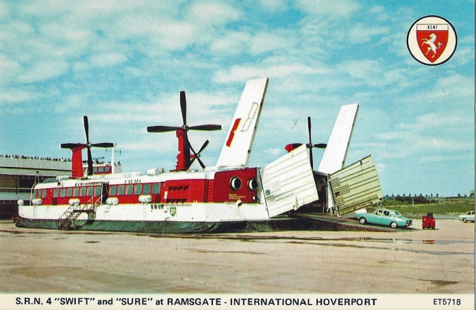 Postcard showing loading of S.R.N hovercraft at Pegwell Bay in the 1980s