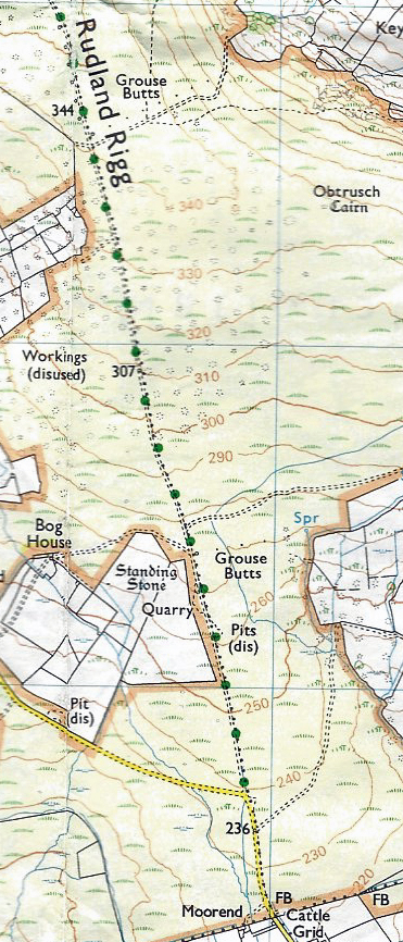 Detail from Ordnance Survey 1:25 000 OL26 map of the North York Moors. This shows how the Rudland Rigg  track gradually climbs up the contours heading north. Contours are shown at 10m intervals and the thicker contours at 50m intervals