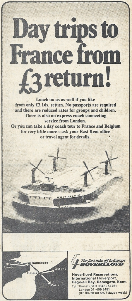 Newspaper advertisment for travel by Hoverlloyd