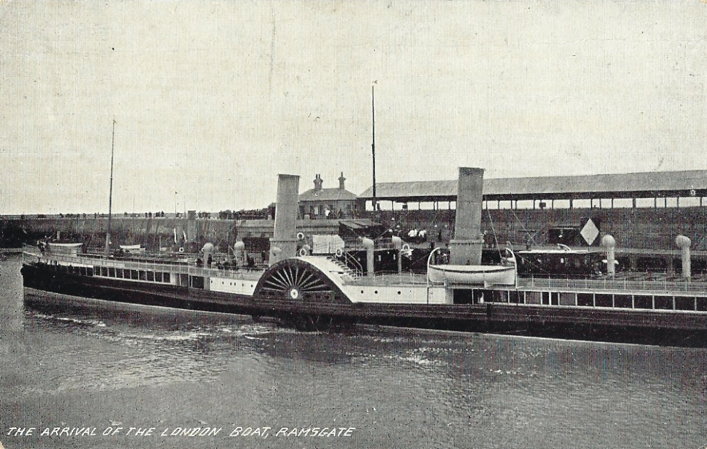 Cross Channel Paddle Steamer  service at Ramsgate harbour shown on a 1912 postcard. There is talk of resurrecting a more modern boat service from here to the continent