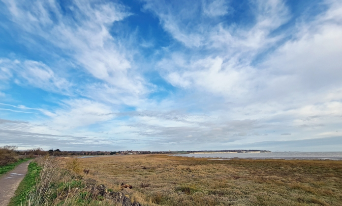 A glance back across the saltmarsh and mudflats toward Pegwell Bay. An internationally important site for migratory and wintering wetland birds