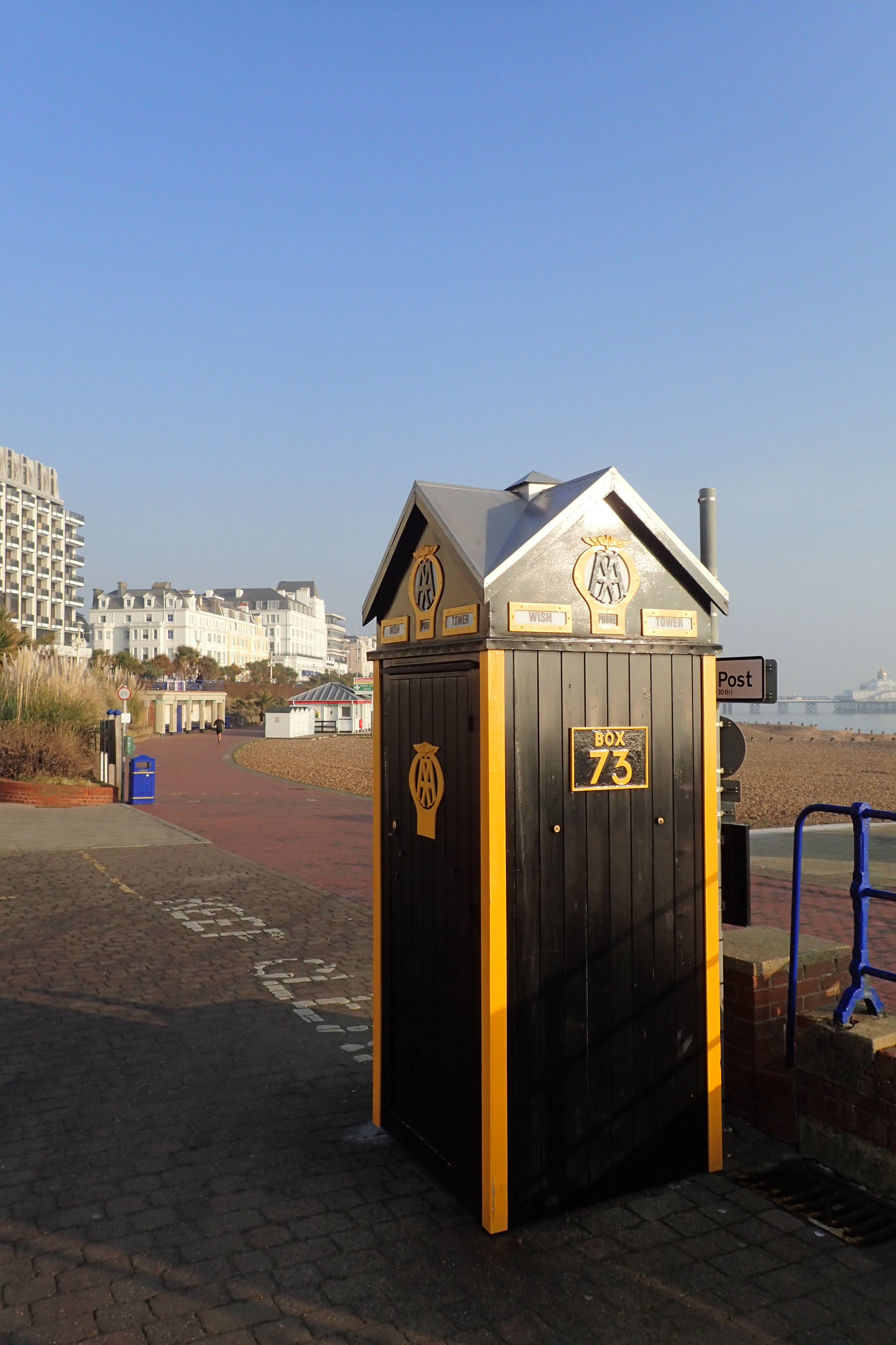 AA kiosk at the start of the Wealdway, Eastbourne