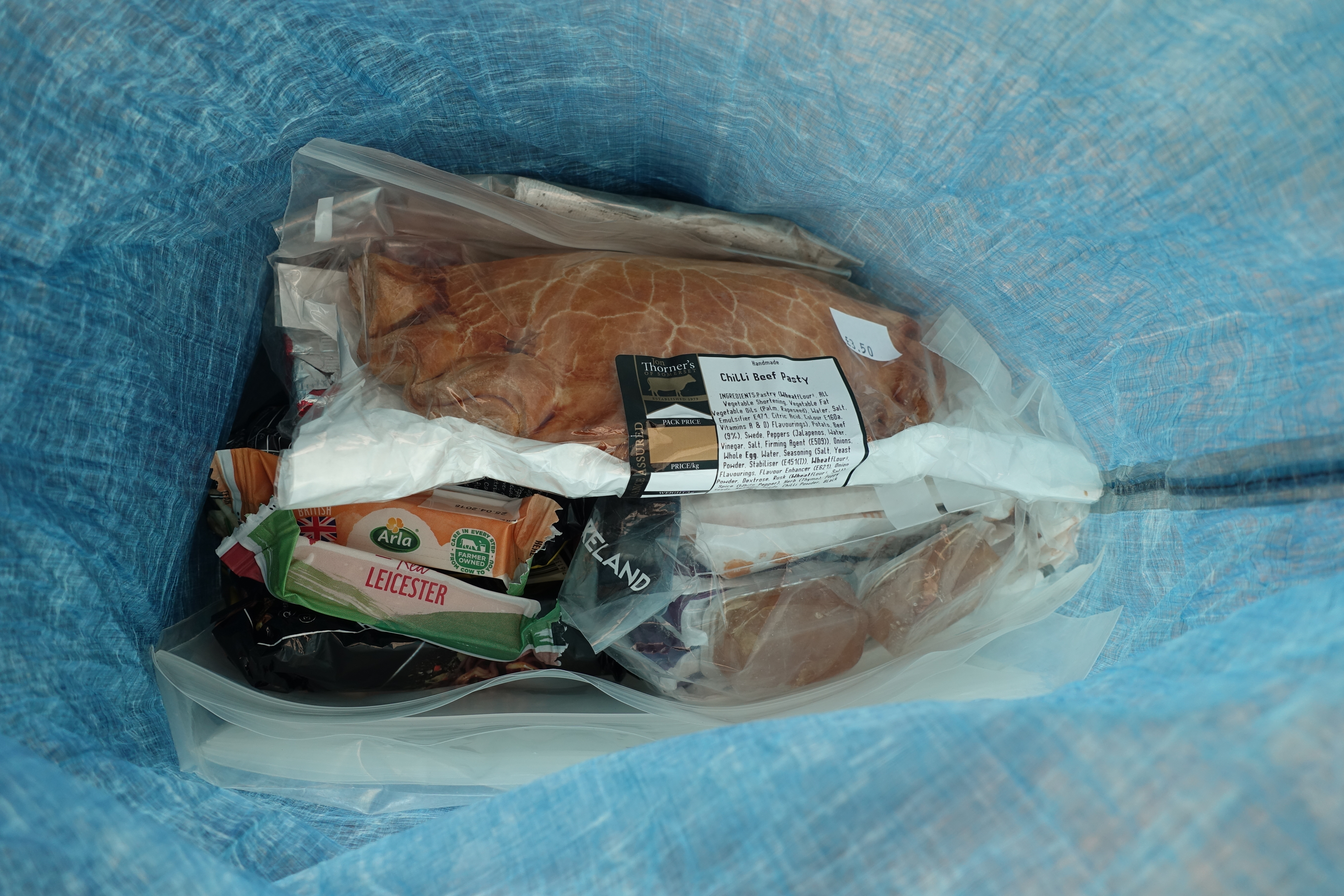 With just a couple of days beween larger towns on trail there is little in my food bag beside heavy tasty foods- Chilli beef pasty, pork pies and cheeses. Some moderately heathier foods are beneath, honest!