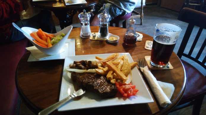 Steak and chips on South West Coast Path- with extra side order of steamed vegetables
