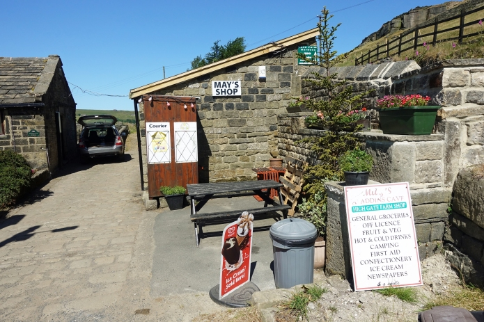 Just a couple of hundred metres off the Pennine Way is May's shop. Some hikers pass. Don't! Call in and put some trade her way