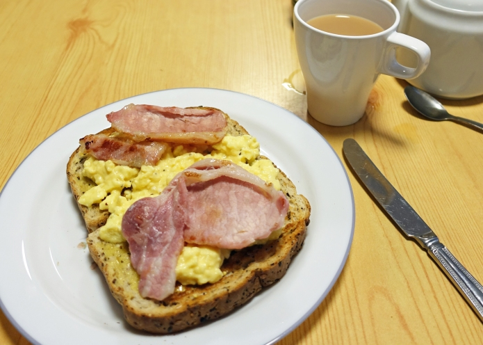 A (very slightly) healthier breakfast option. Grilled bacon with scrambled egg on wholemeal toast at YHA Hawes