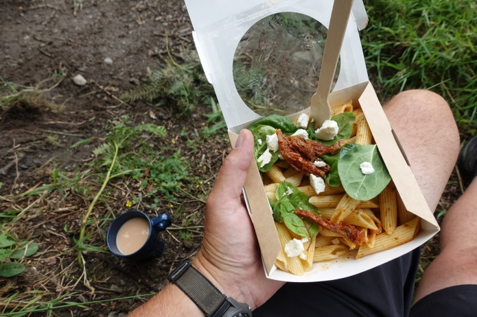 The Cherry Tree Cafe is a newer seasonal on trail stop for hikers on the West Highland Way. Everything has to be carried in by the priotors, though offerings such as this tomato and pasta dish with fresh garnish can not be faulted