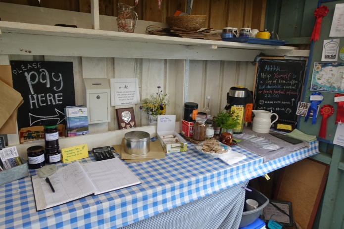 The community vegetable outlet at Kilchoan is little motre than a shed on the edge of some allotments. However it still provided a small food resupply, a hot drink and a brief respite from the weather