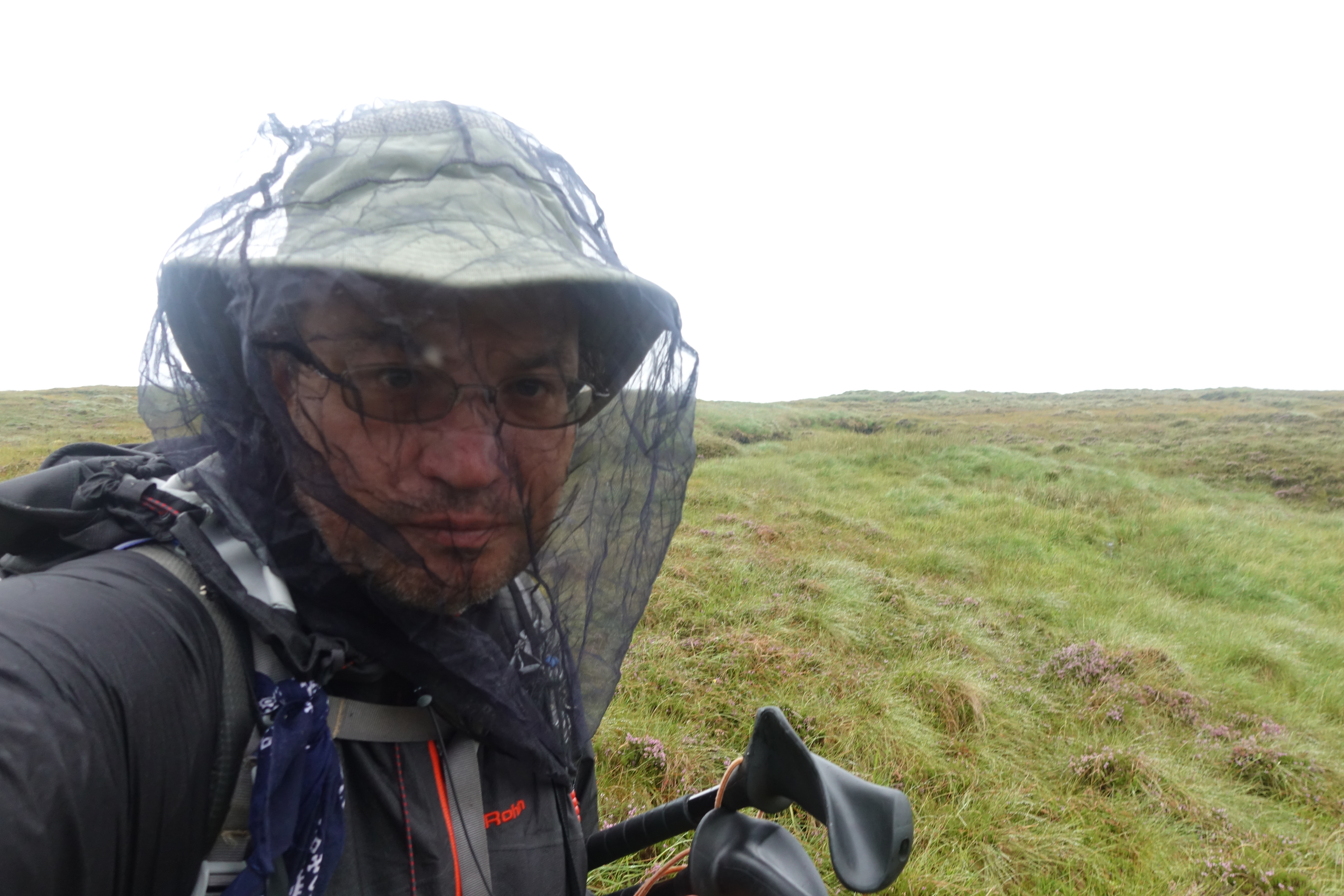 Midge net worn over Tilly hat on the Cape Wrath Trail