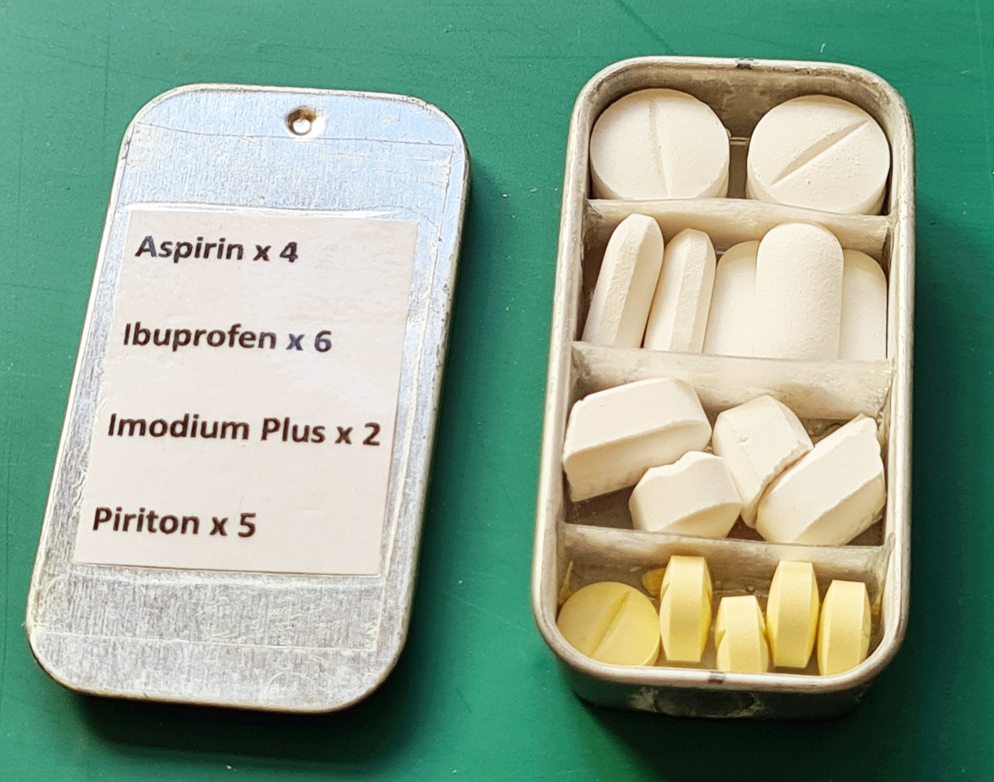 Medication carried in Urban Altoids tin