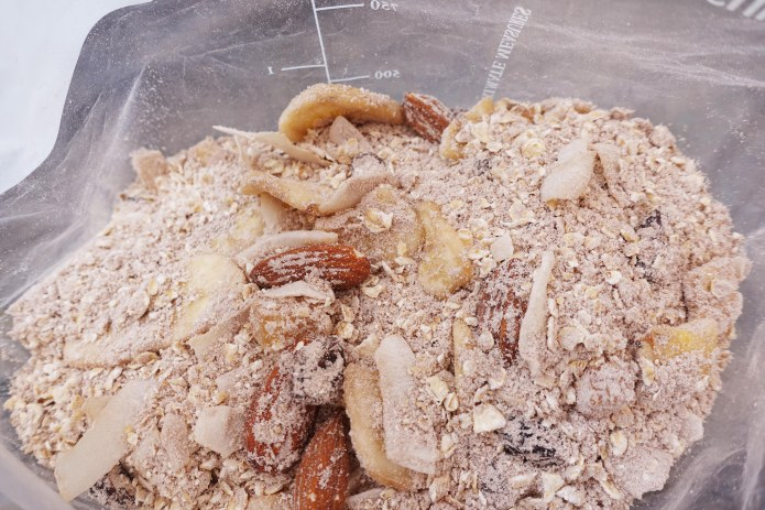 A breakfast mix can be prepared from whatever ingredients can be found in local shops passed on trail- this is porridge oats, milk powder, chocolate whey, dried banana and sultanas with almonds. I can be eaten hot or cold, or even spooned in dry with mouthfulls of water