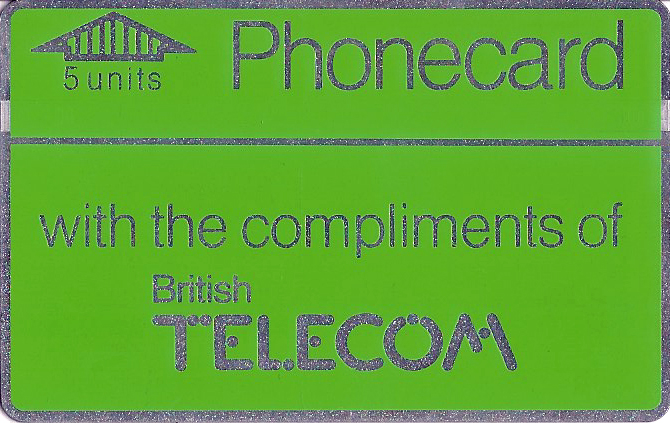 The first generation complimentray Phonecards were distributed free of charge to tease new customers into the new card payment system. Nov. 1985
