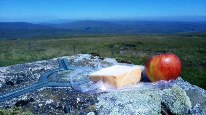 A first lunch after rejoining trail after a town- fresh fruit and cheese