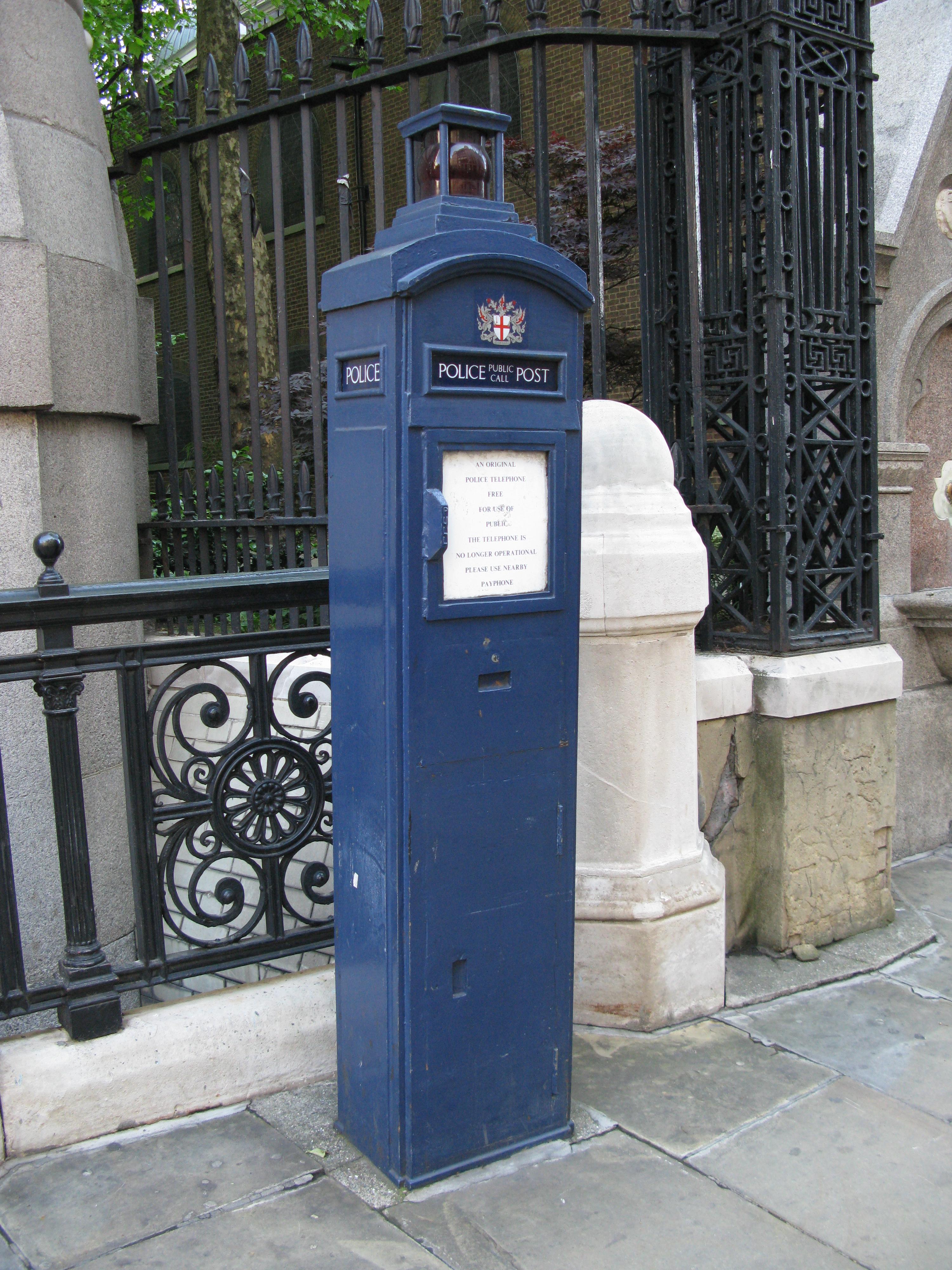 Metropolitan Police Pillar, London. Seen on Shepherd Neame City of London walk
