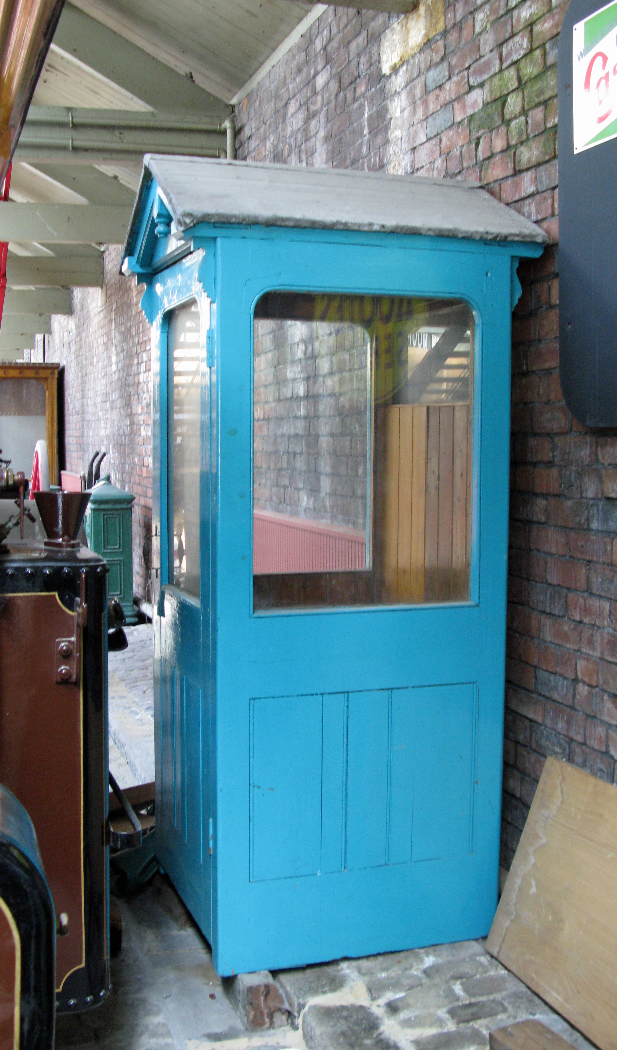 An extremely rare example of a wooden contruct 'Wilson' telephone kiosk, dating from prior to the First World War. Bradford Industrial Museum