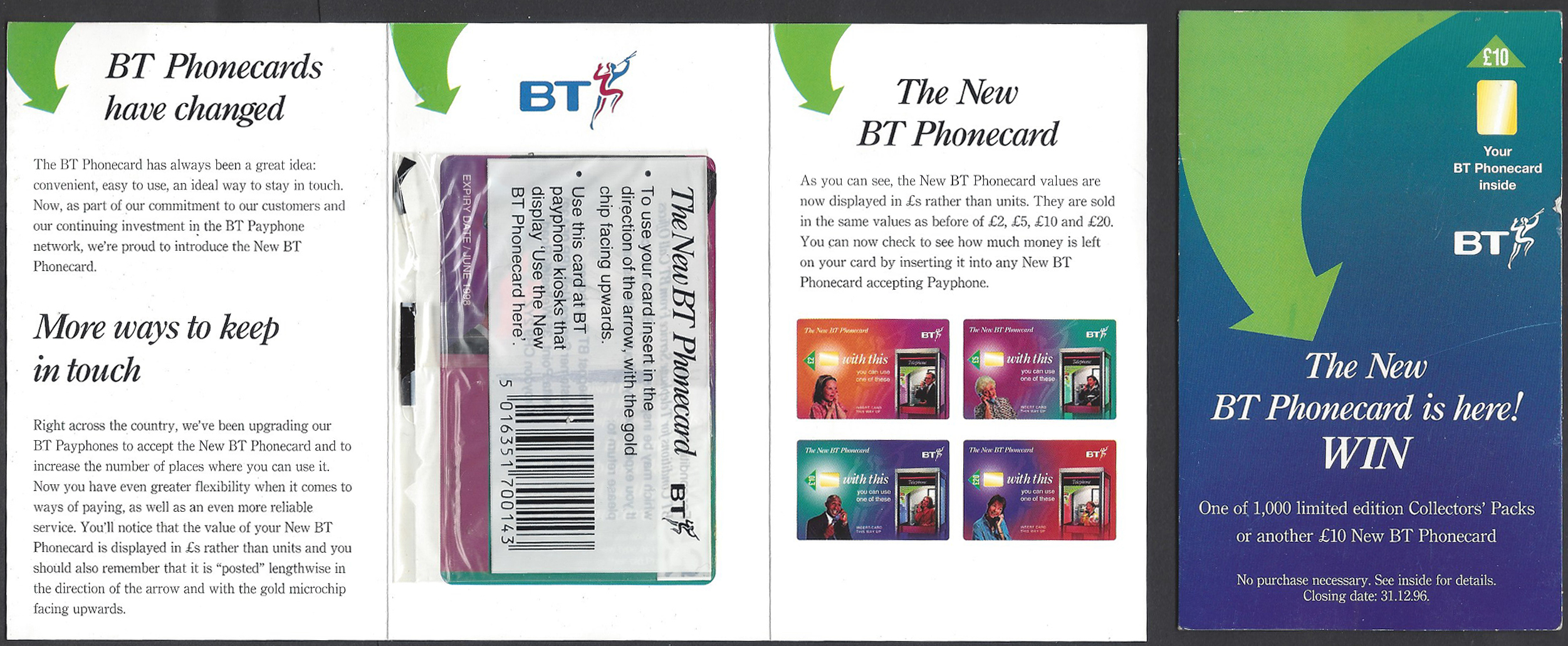 'New' chip cards were introduced by BT in 1996. First issues of these came in an explanatory leaflet