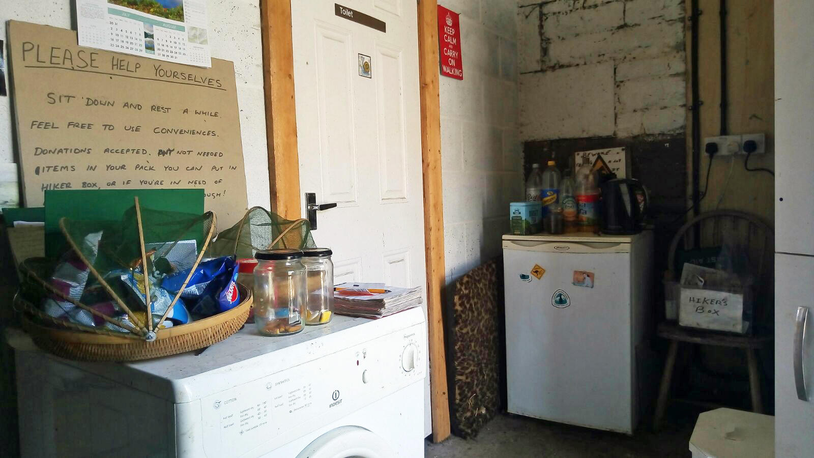 The kindness of strangers- thoughtfully provided food, drink, w/c, shower and washing machine for passing Pennine Way hikers