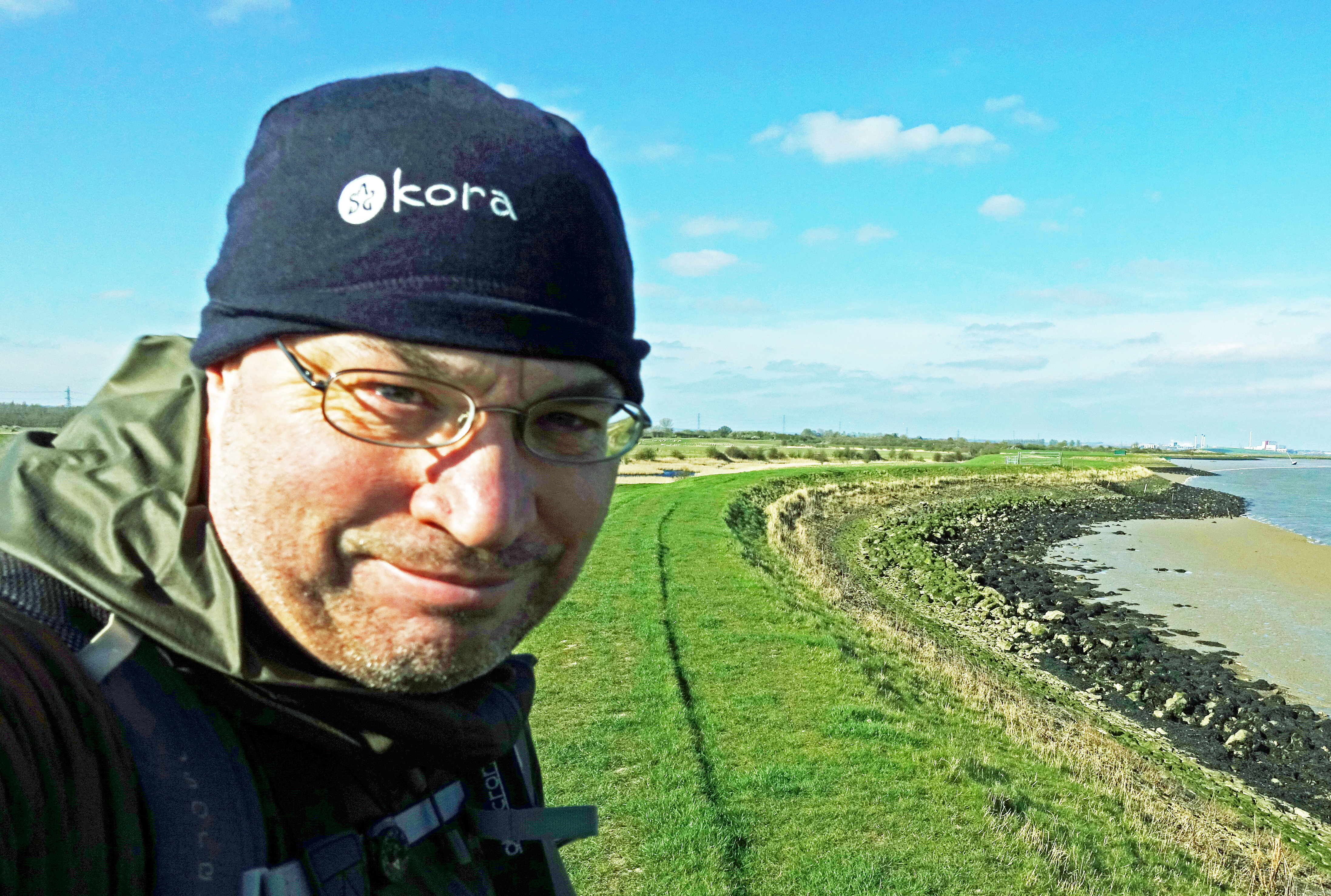 Kora beenie on a bright and sunny, but cold winter walk on Saxon Shore Way