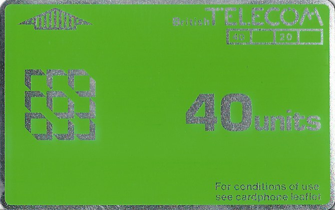 1st issue BT Phonecard. 40 units=£4