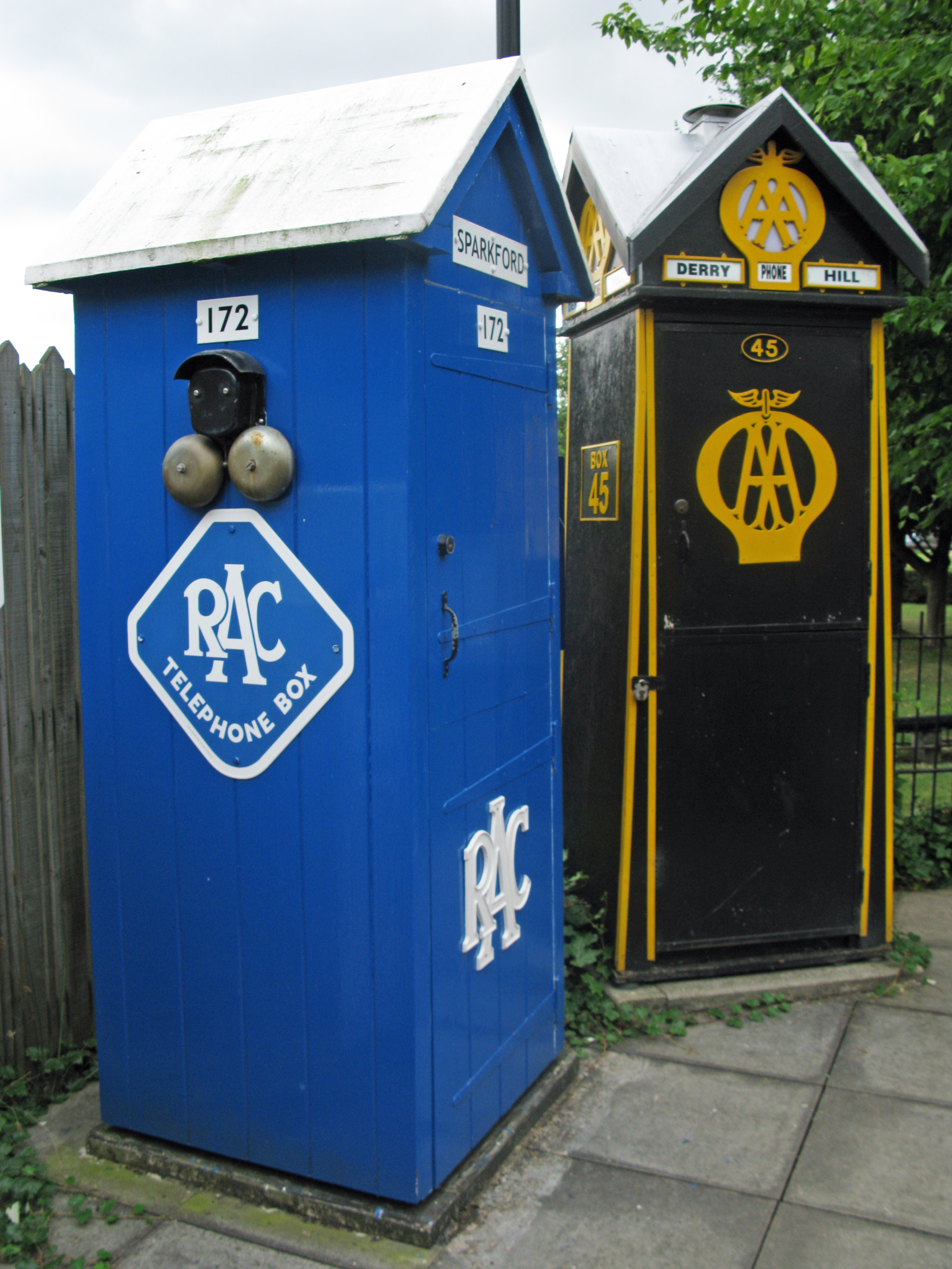 RAC and AA kiosks. Part of the National Telephone Kiosk Collection