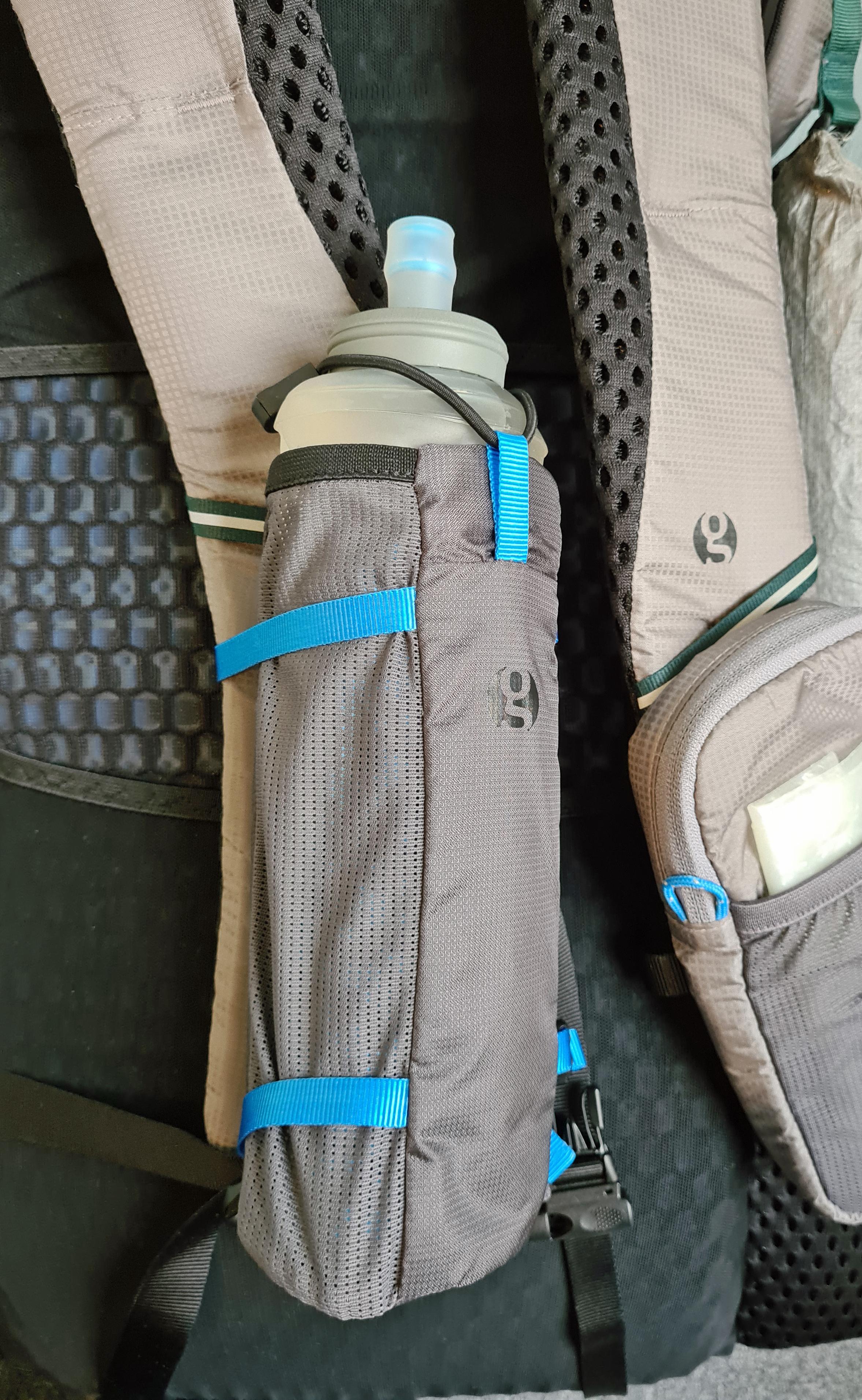 600ml HydraPak/Katadyn BeFree flask in Gossamer Gear Bottle Rocket shoulder strap bottle holder
