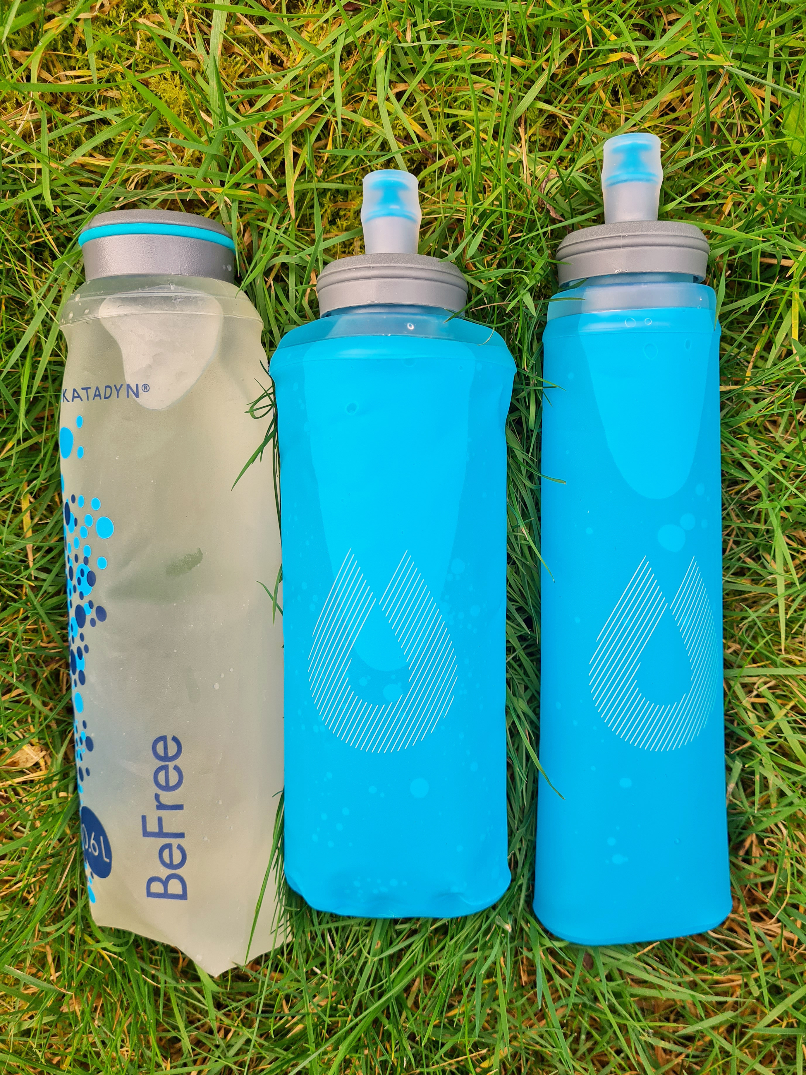 Three soft flasks from HydrPak- 650ml soft flask that comes with BeFree filter, 600ml UltraFlask and 500ml UltraFlask