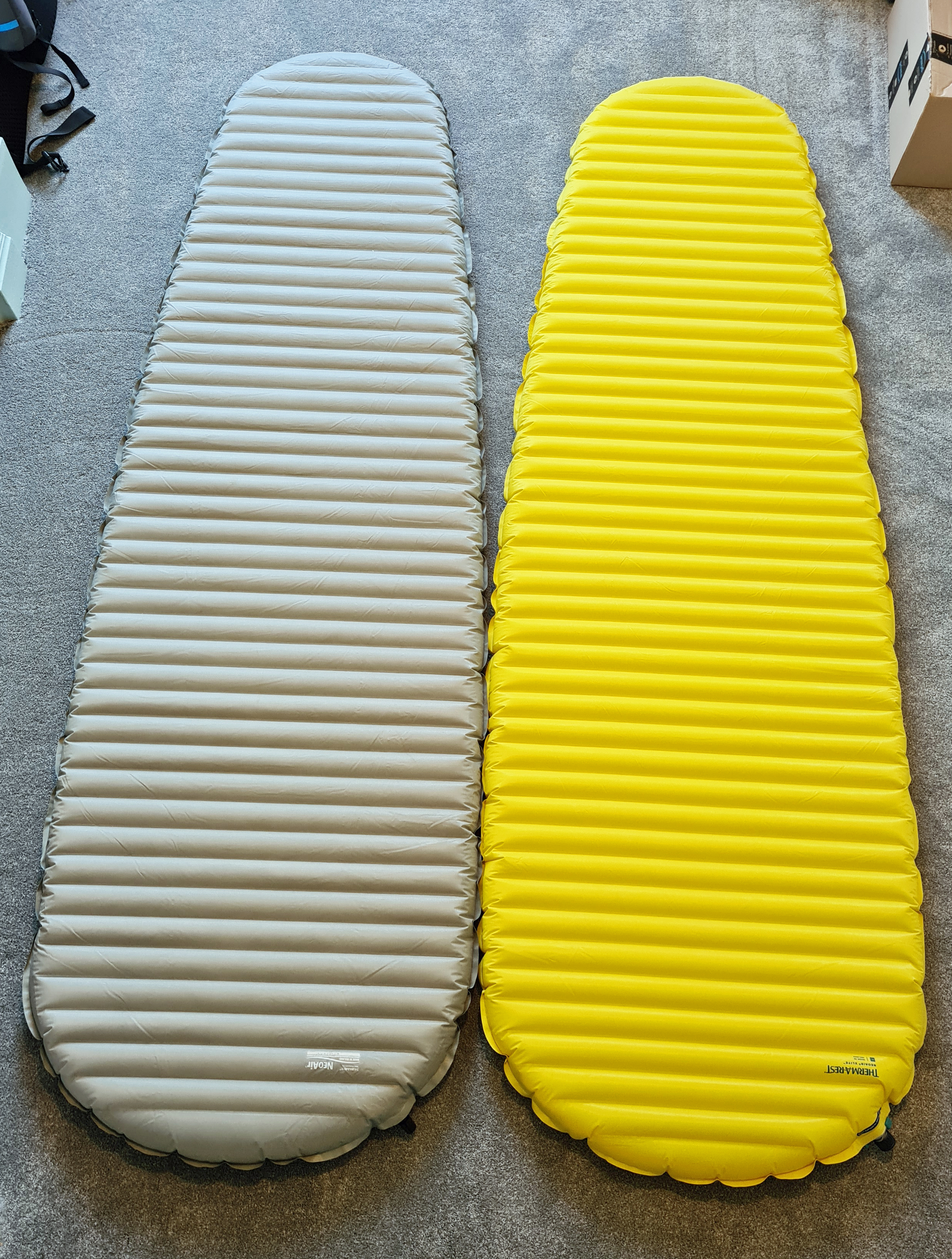Large size Thermarest NeoAir XTherm (left) and XLite (right)