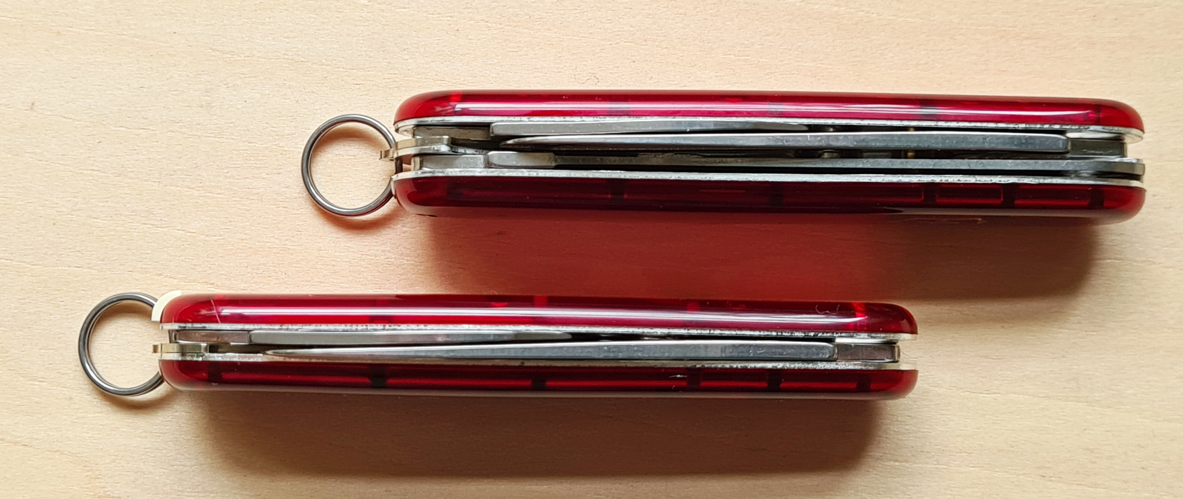 Thickness of single and double layer My First Victorinox compared