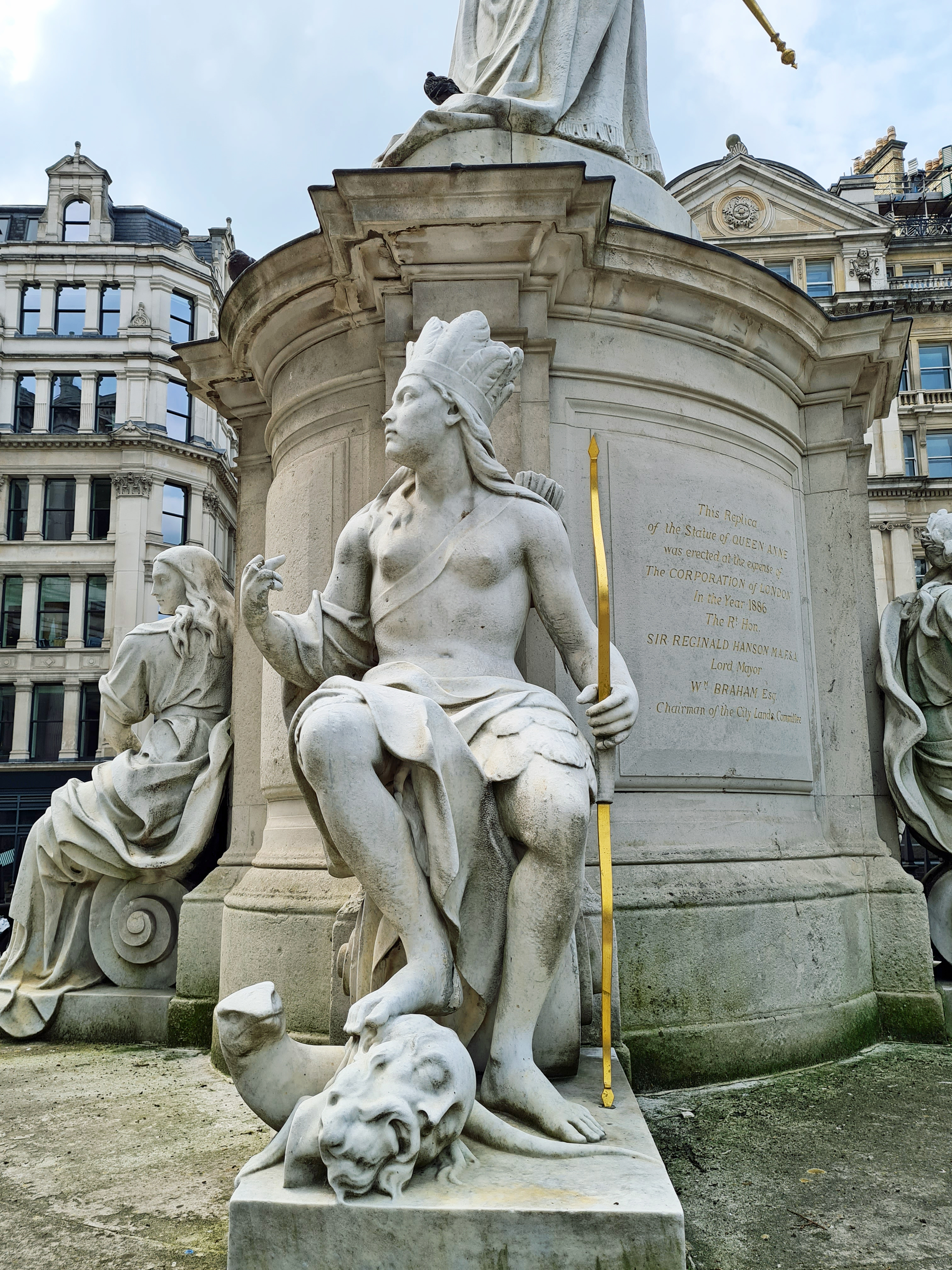 Detail from statue of Queen Anne. 'North America', copy by by Francis Bird. St. Paul's Cathedral