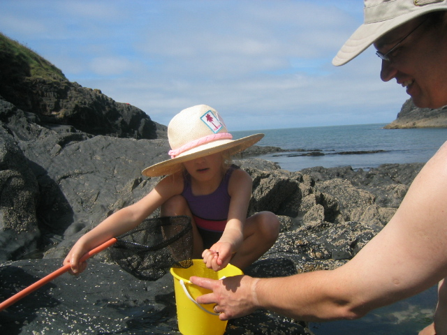 The Pembrokeshire Coast was an early introduction of Miss Three Points of the Compass to our National Parks. Rock pooling is always an adventure