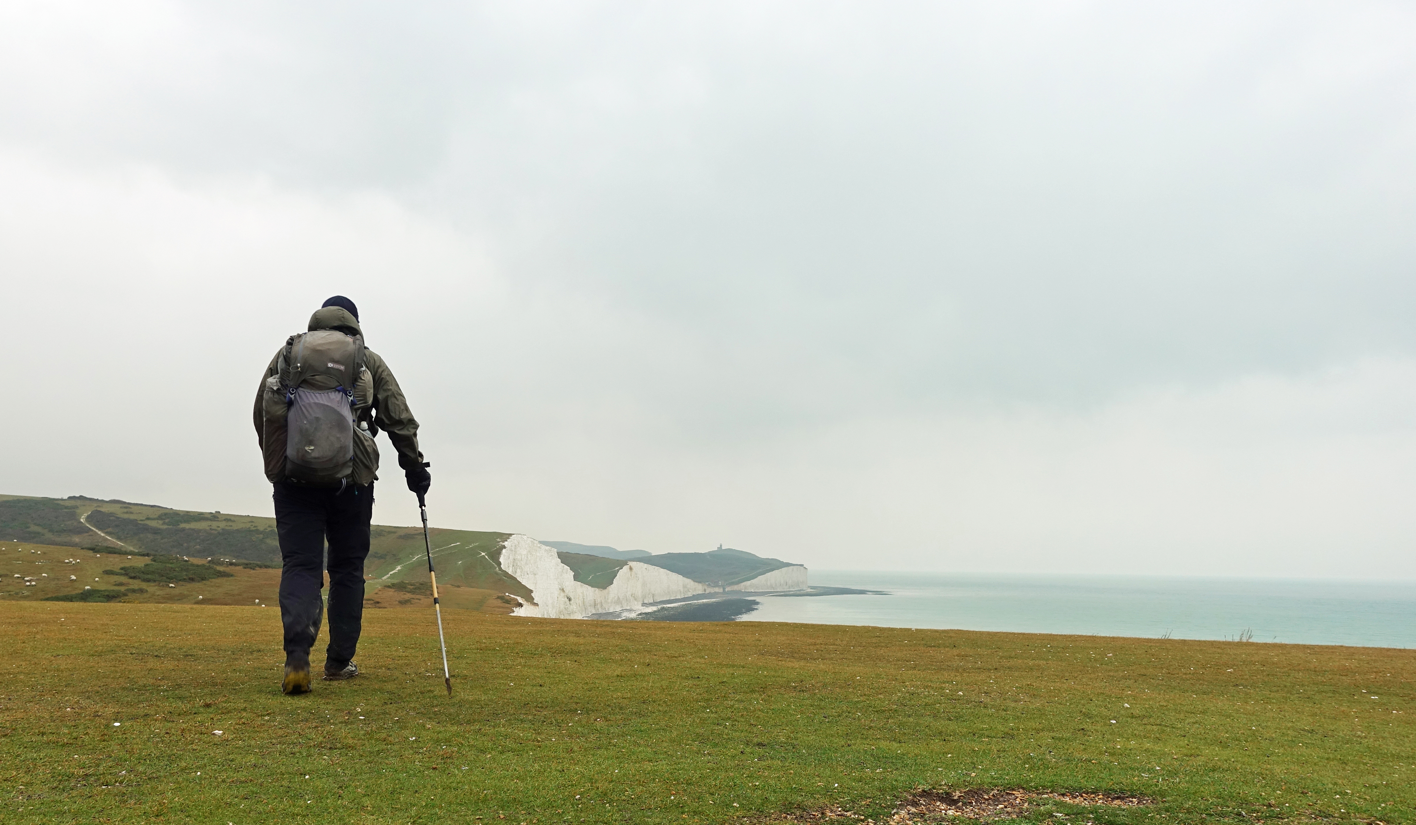 The South Downs Way crosses the National Park. Here, Three Points of the Compass approachews the Seven Sisters on the final day of his walk