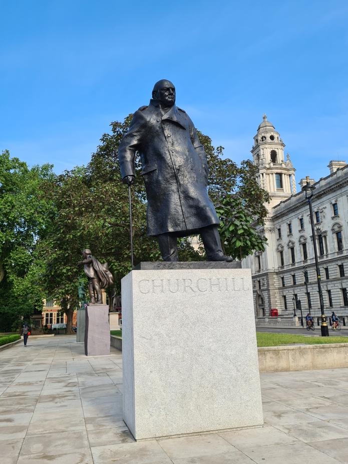 Winston Churchill. Ivor Roberts Jones,  David Lloyd George by Glynn Williams beyond. Parliament Square
