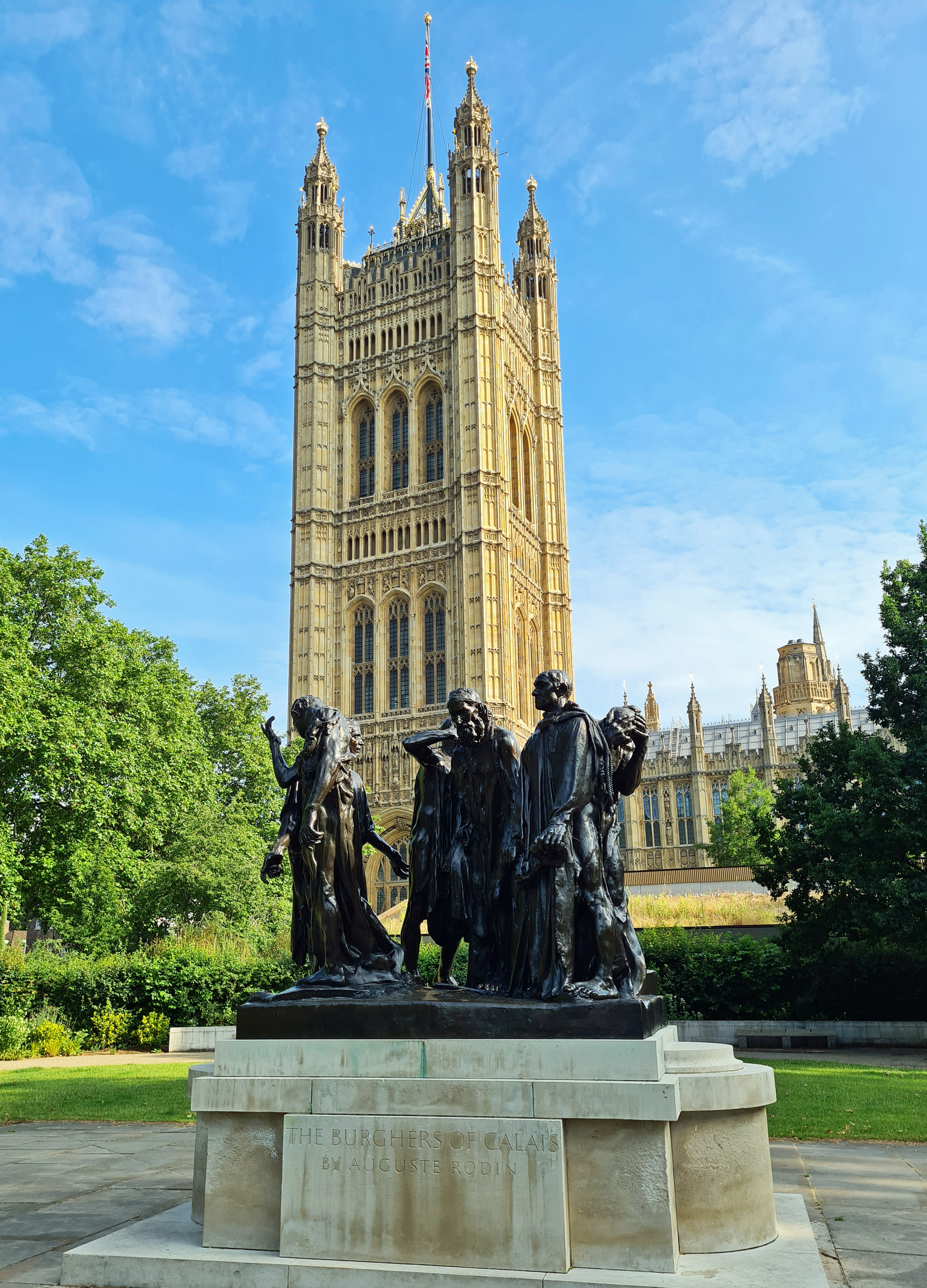 The Burghers of Calais, Auguste Rodin. Victorian Tower Gardens, Houses of Parliament