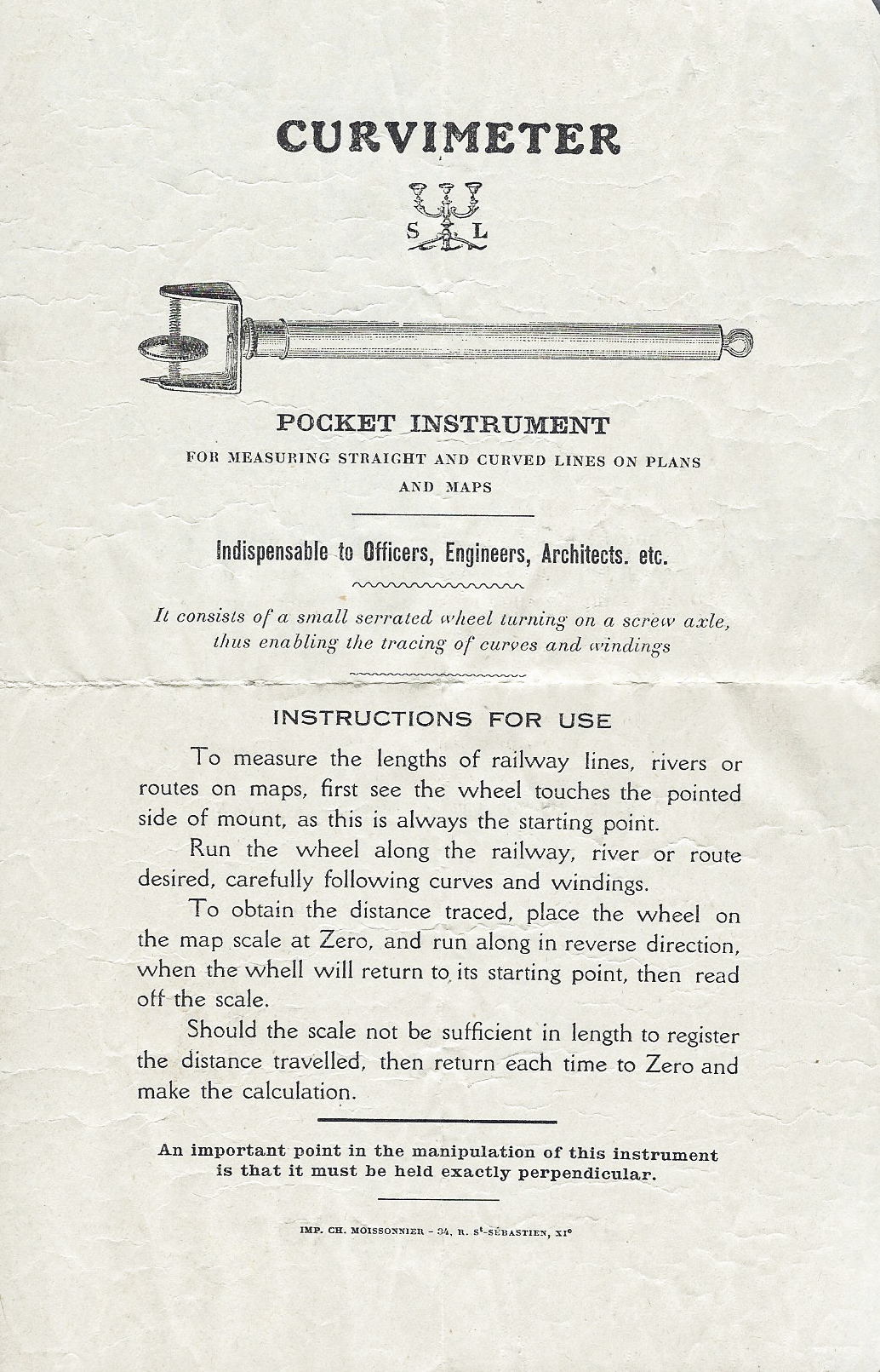 Instructional leaflet supplied with SL Curvimeter