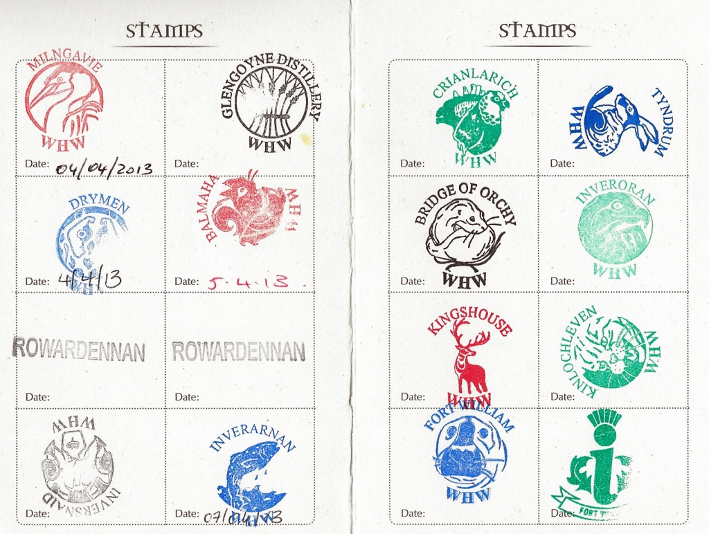 Stamps collected in West Highland Way 'passport, when the Three Points of the Compass family hiked this long distance path in 2013