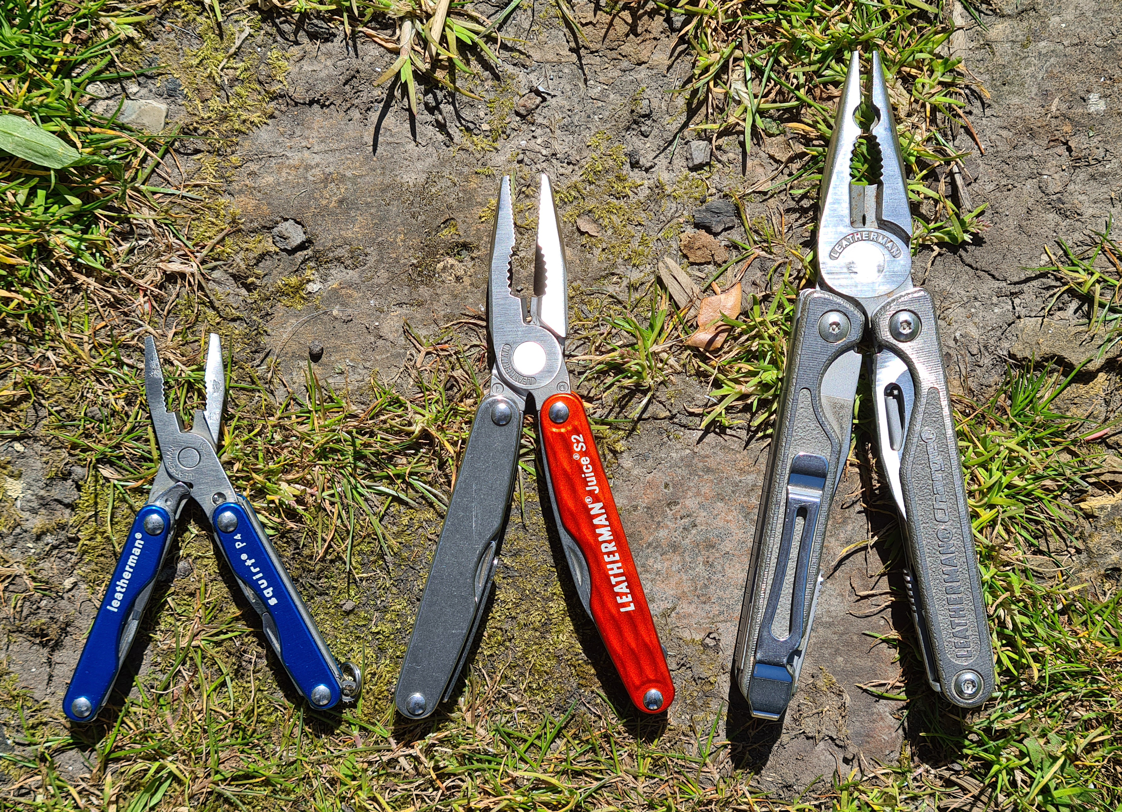 Three sizes of Leatherman multi-tools with plier tips- small 'keychain'  Squirt P4, 'Pocket-sized' Juice S2, 'heavy duty' Charge