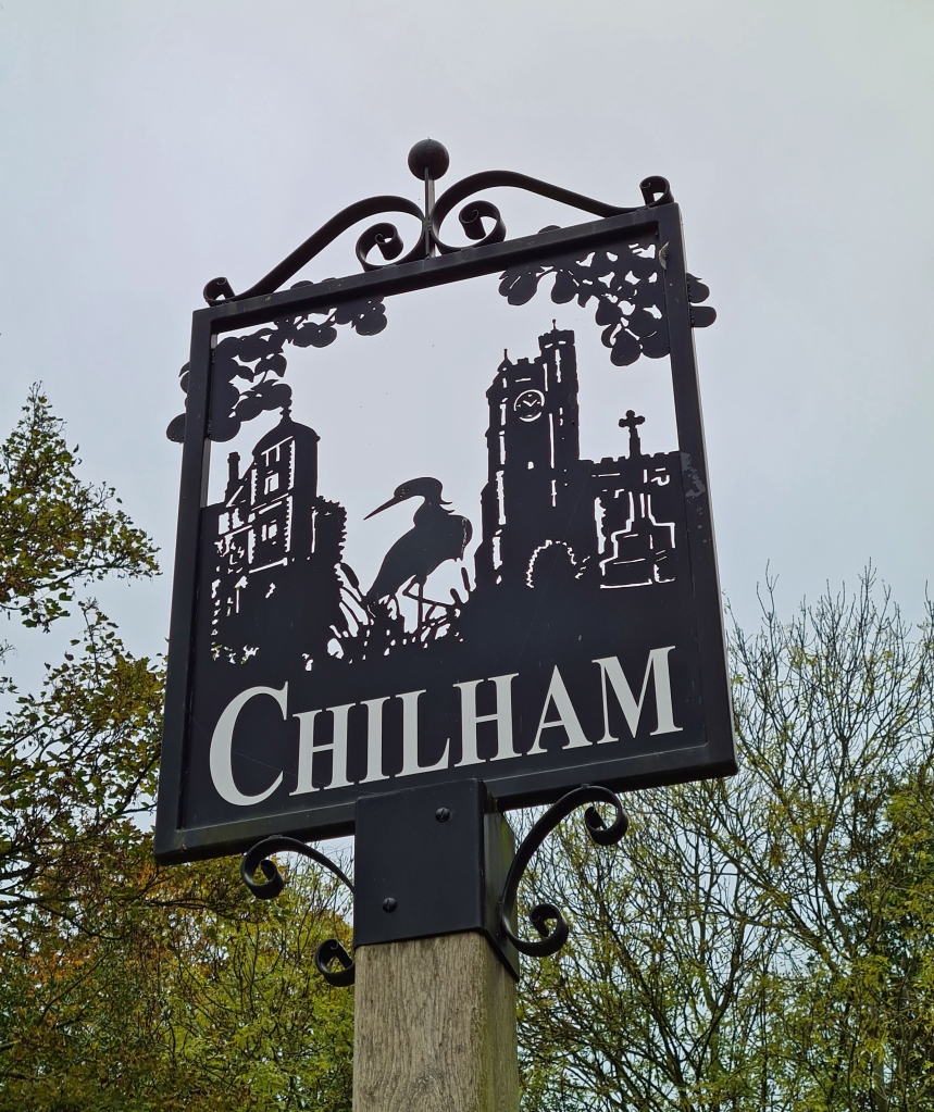 Perforated metal village sign at Chilham