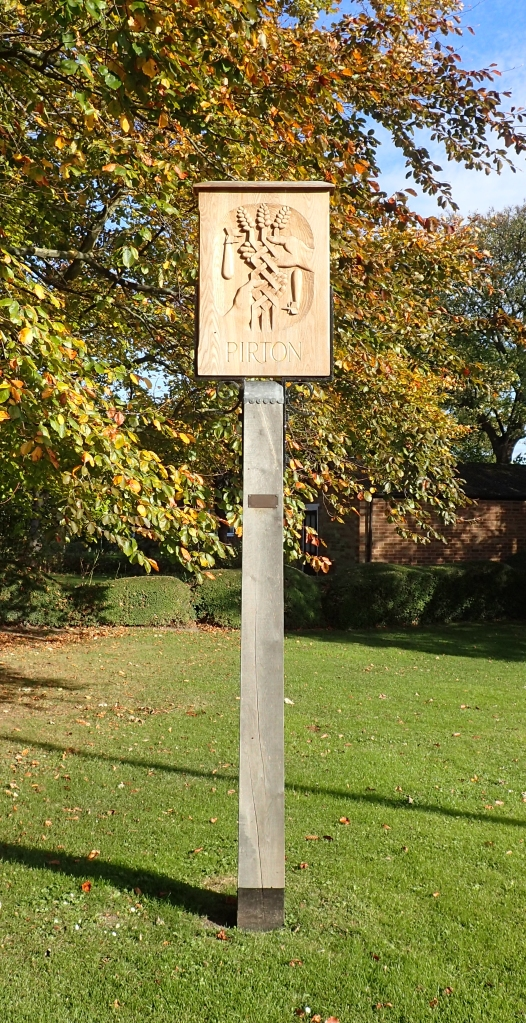 Pirton village sign, passed on the Icknield Way