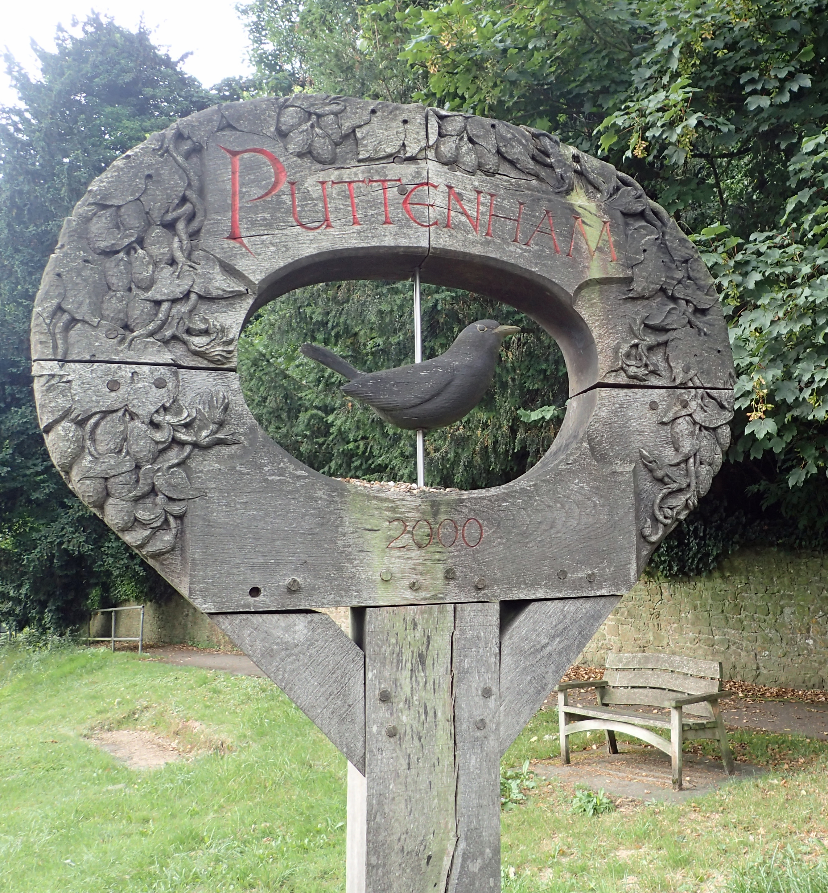 Puttenham village sign, passed on the North Downs Way