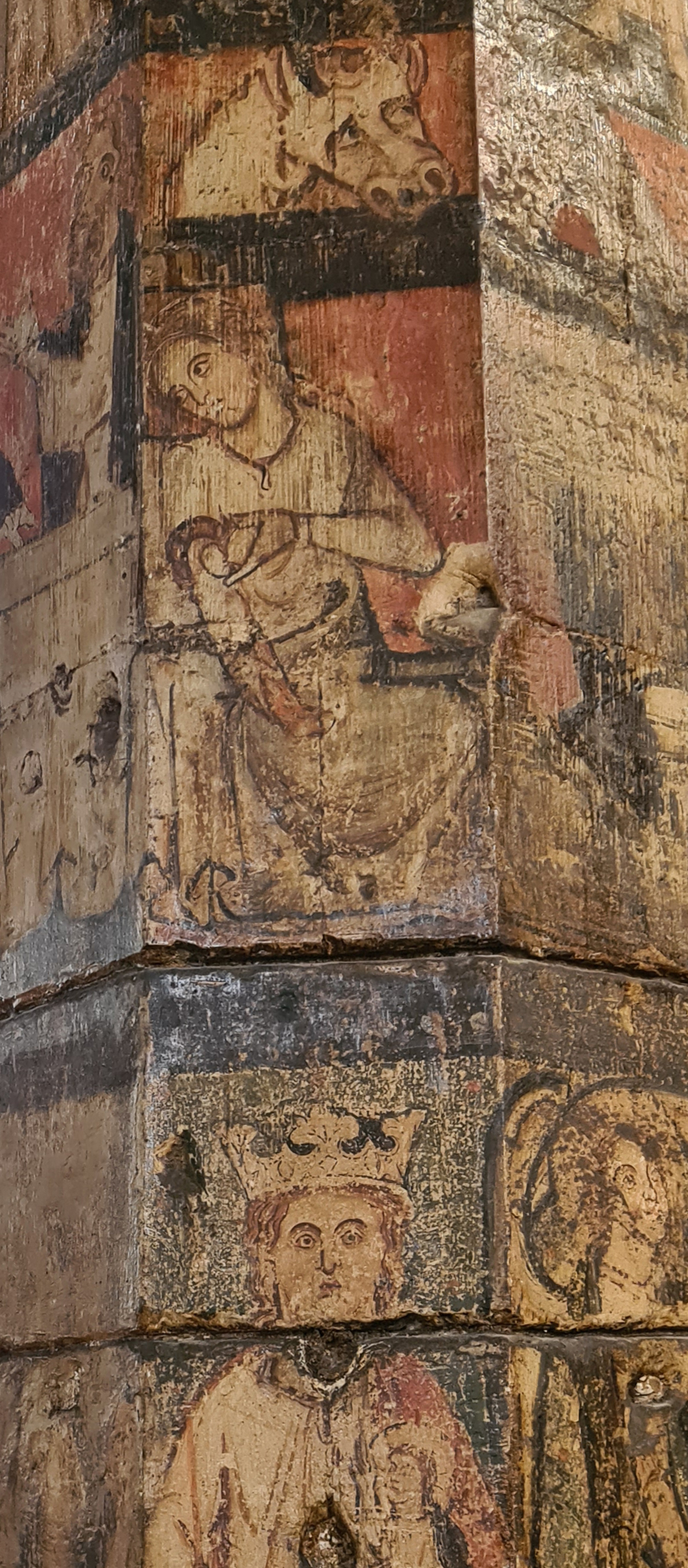 Detail from medieval painted column