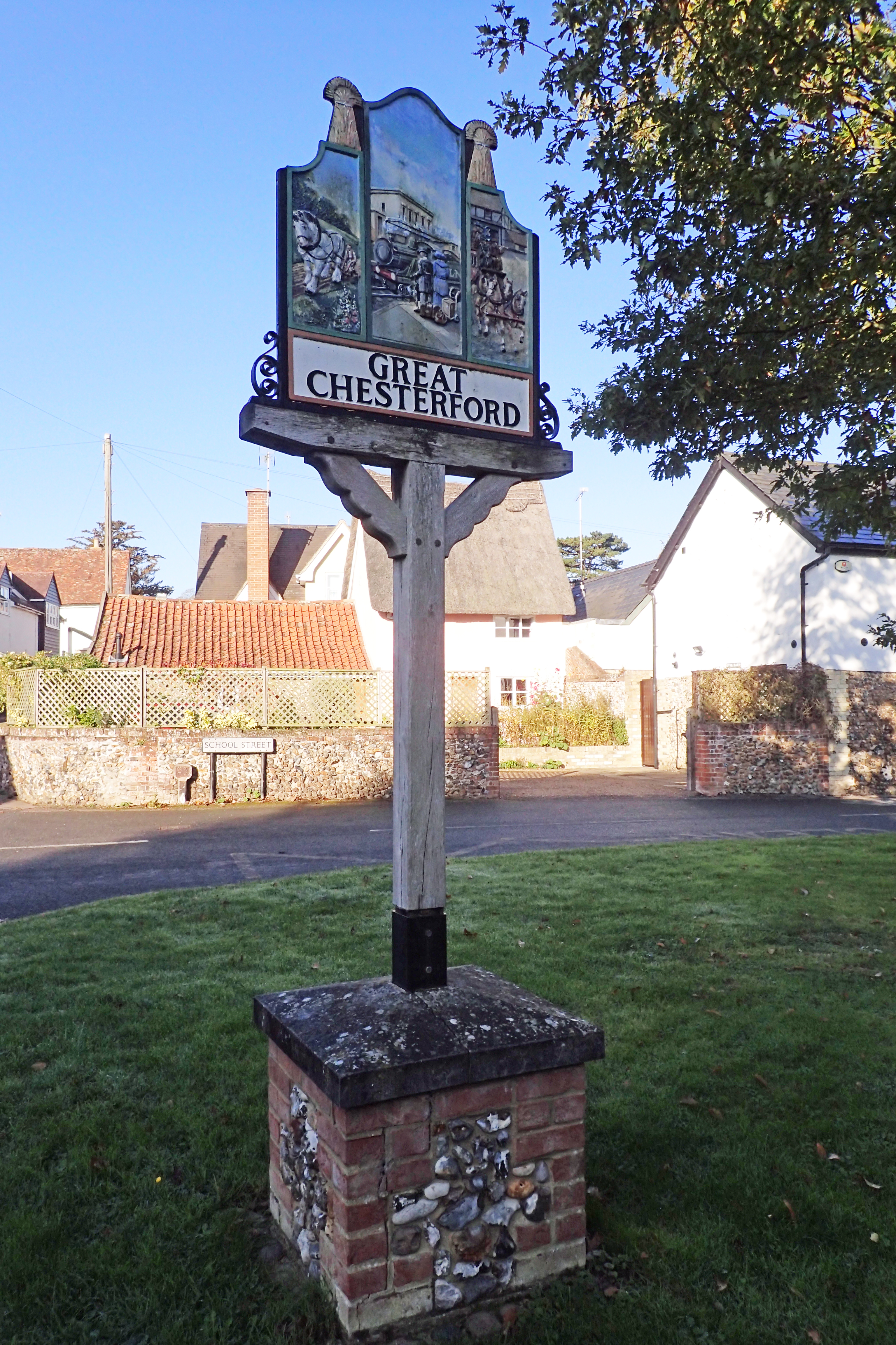 Village sign at Great Chesterford, passed on the Icknield Way