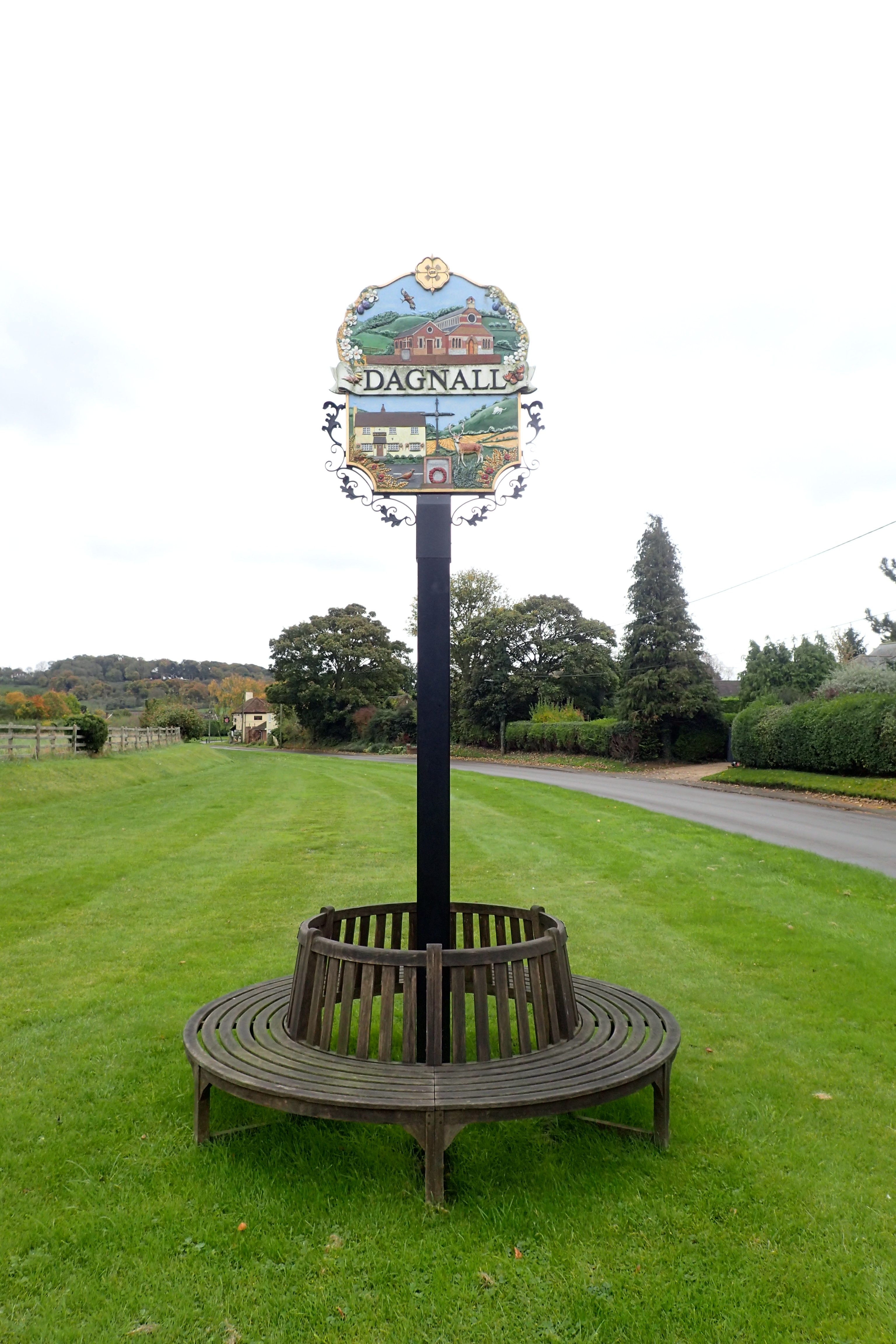 Glass Reinforced Plastic sign at Dagnall. Passed on the Icknield Way