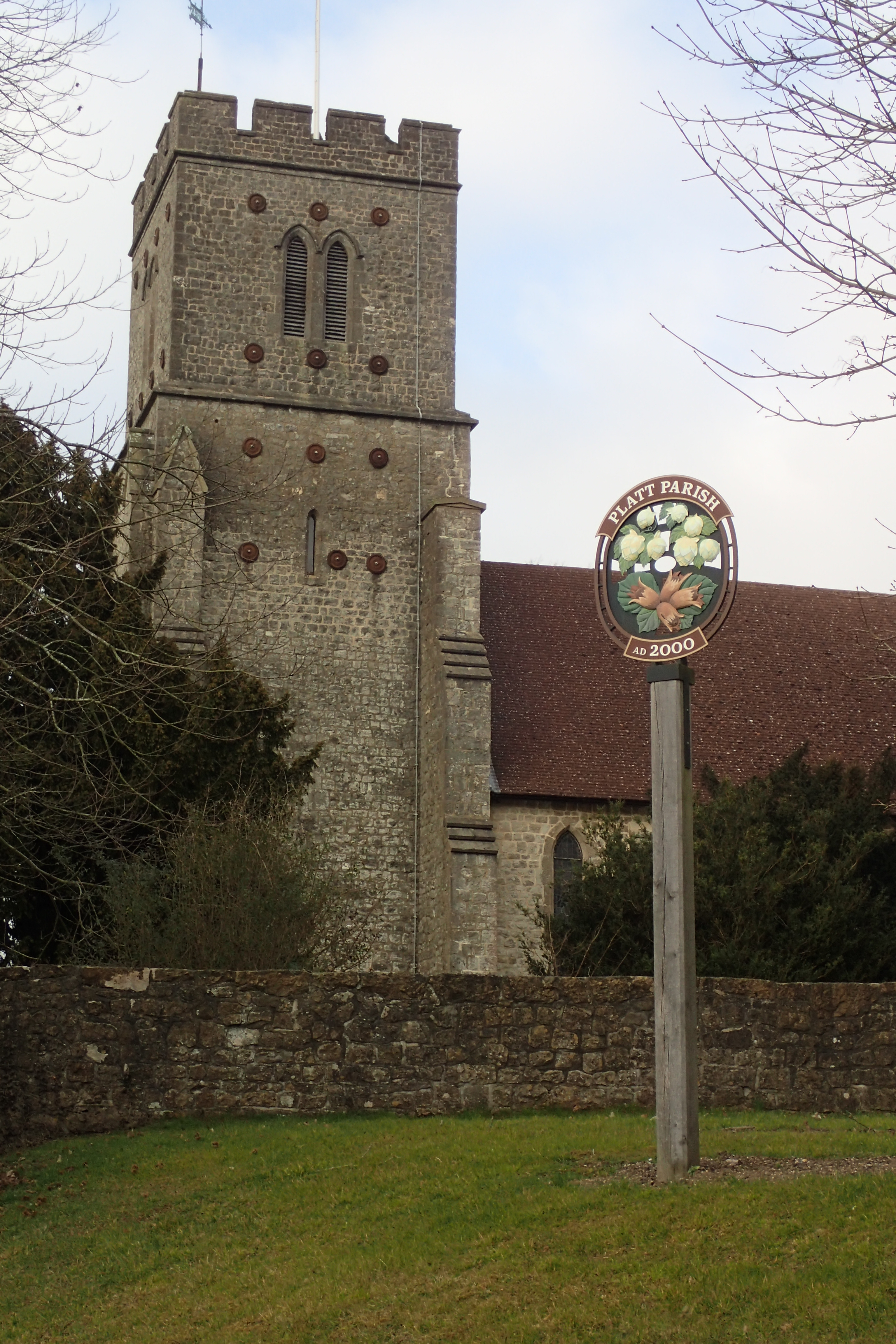 Village sign at Platt Parish, passed on the London Countryway