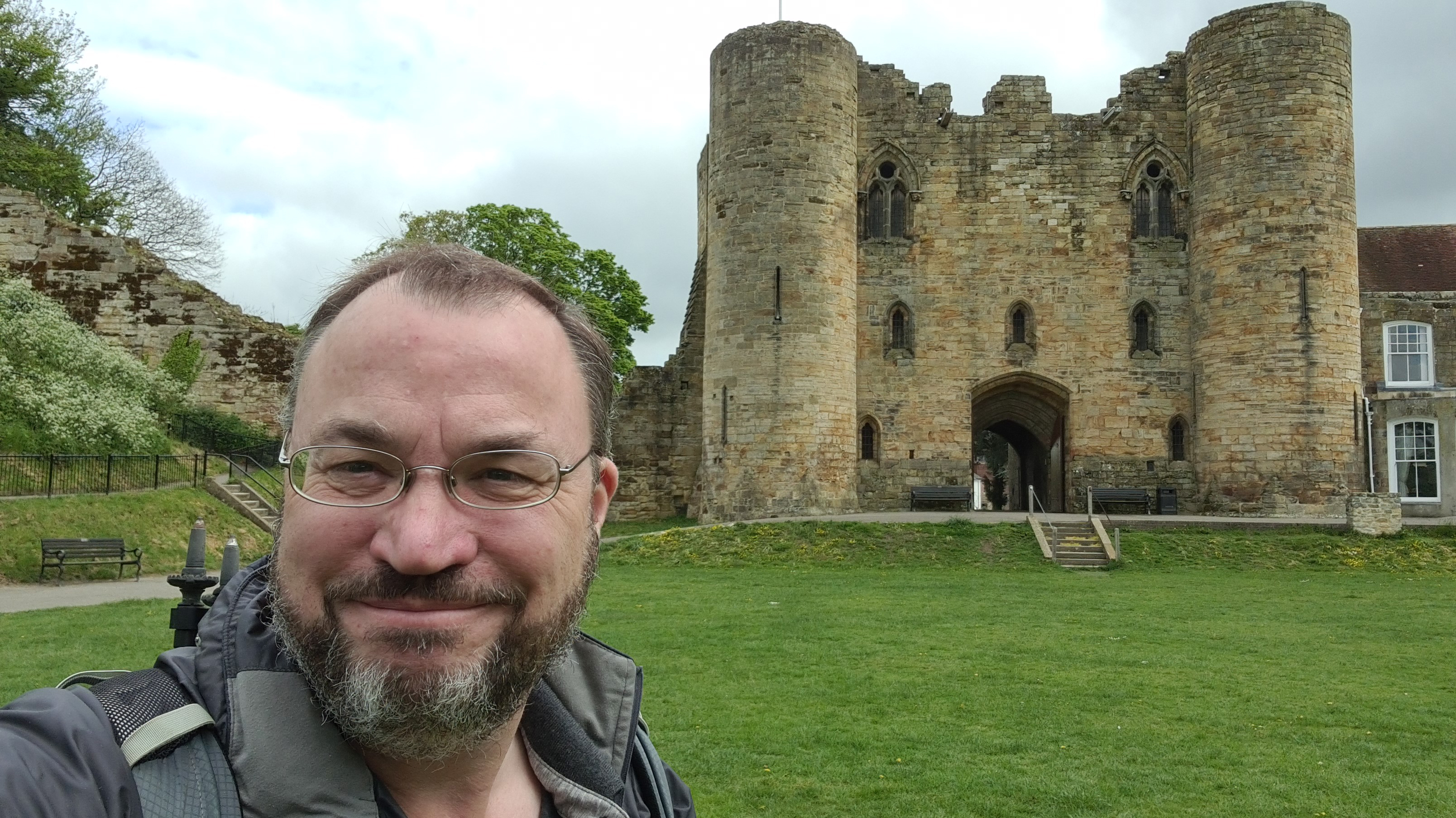 Looking rather pleased with himself- Three Points of the Compass sets off from Tonbridge Castle on the Medway Valley Walk